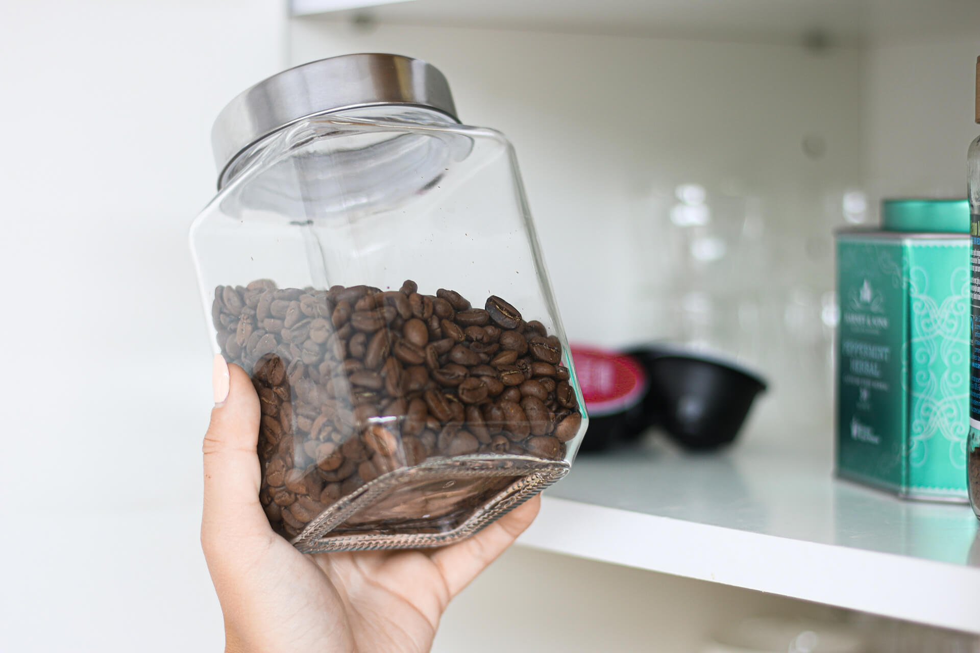 store coffee beans in special container